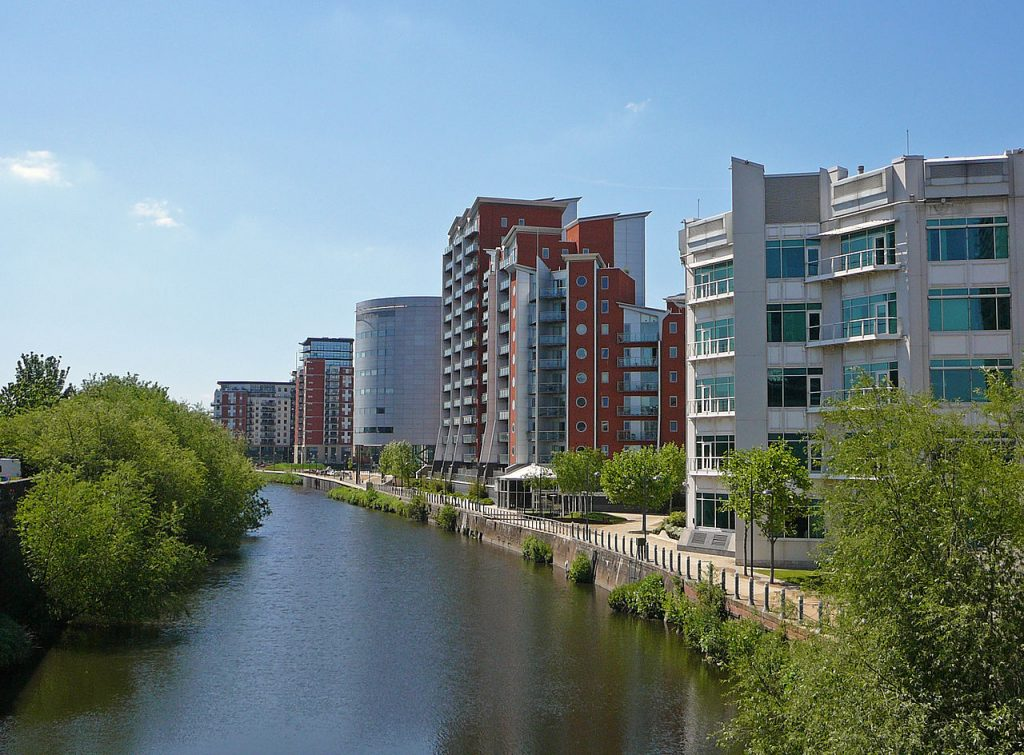 an image of the River Aire waterfront in Leeds