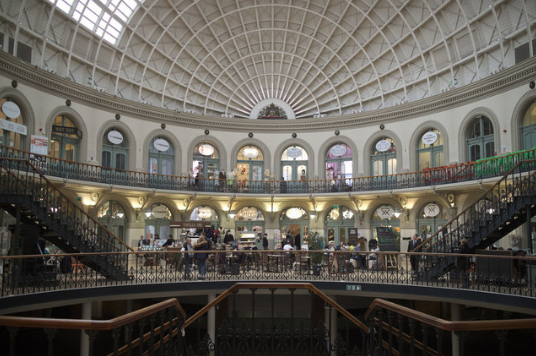 an image of the inside of the Leeds Corn Exchange