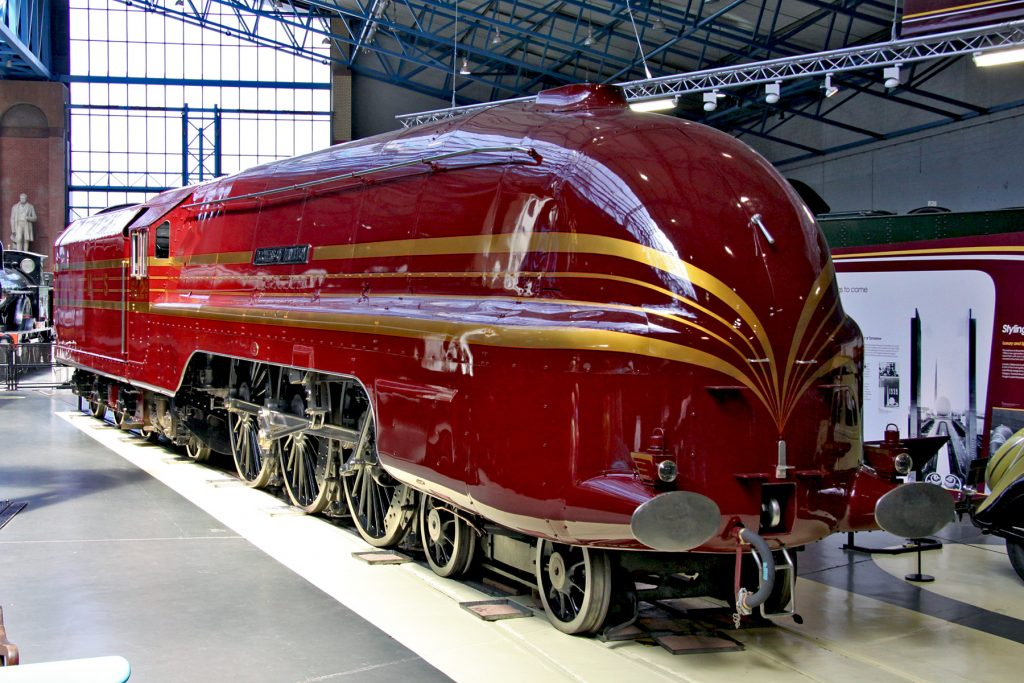 an image of the Duchess of Hamilton in the National Railway Museum in York